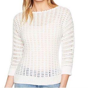 Free People Boomerang Crochet white knit sweater
